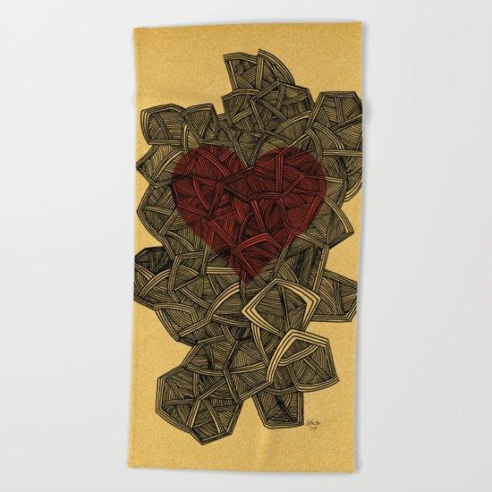 - heart line - Beach Towel