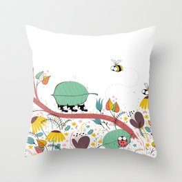 Three Ants in a Row Throw Pillow