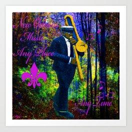 NEW ORLEANS JAZZ TROMBONE LET THE GOOD TIMES ROLL!! Art Print