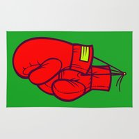 boxing Area & Throw Rugs featuring Boxing Gloves by Artistic Dyslexia