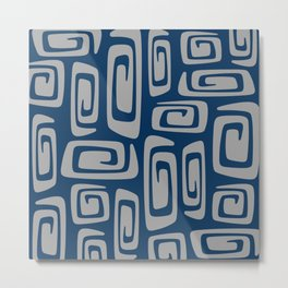 Mid Century Modern Cosmic Abstract 513 Blue and Gray Metal Print