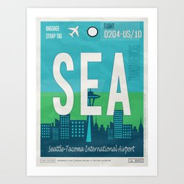 Vintage Seattle Luggage Tag Poster Art Print