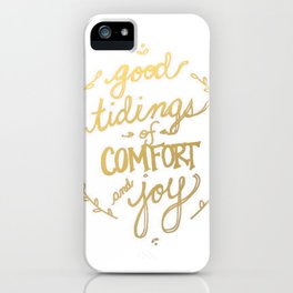 Gold Typography Holiday Christmas Wreath Brushstroke Watercolor Ink Tidings Joy Love iPhone Case