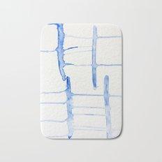 watercolor drips - blue cross Bath Mat