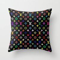 lannister Throw Pillows featuring COLORFULL LV PATTERN LOGO by BeautyArtGalery