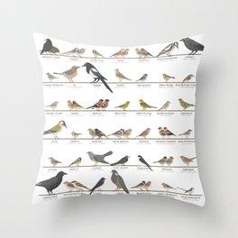 Native European Songbirds Throw Pillow