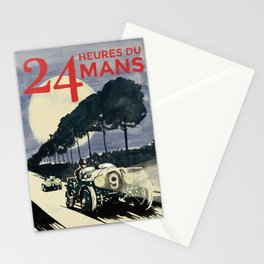 24 Heures du Mans, Hand Painted, vintage Poster Stationery Cards