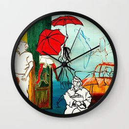 Composition Painting - Umbrella girl with woman Wall Clock