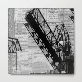 Rail Bridge in Black and White Metal Print