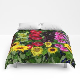ENGLISH HOLLYHOCKS & SUNFLOWER GARDEN Comforters