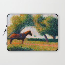 The Harnessed Horse Georges Seurat (1884) Oil Impressionist Painting Laptop Sleeve