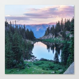 Hikers Bliss Perfect Scenic Nature View \ Mountain Lake Sunset Beautiful Backpacking Landscape Photo Canvas Print