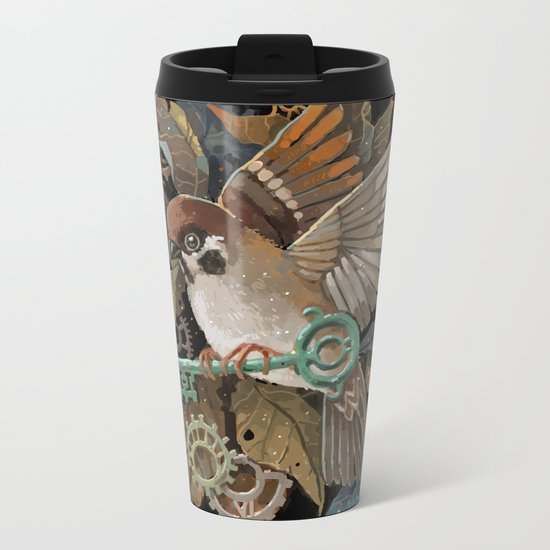 Clockwork Sparrow Metal Travel Mug