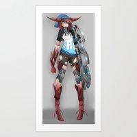cyberpunk Art Prints featuring Cyberpunk Monster Girl by lazylogic