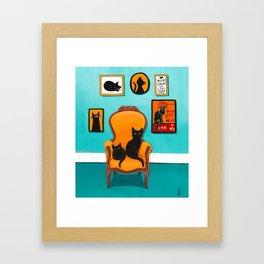 Black Cat in the Turquoise Room Framed Art Print