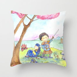 Two samurais on the hill Throw Pillow