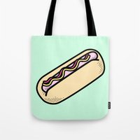 hot dog Tote Bags featuring Hot Dog by Tees & Thanks