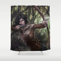 katniss Shower Curtains featuring Katniss by jasric