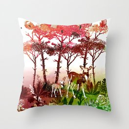Deer Forest Watercolor Design Throw Pillow