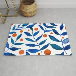 Watercolor berries and branches - blue and orange Rug