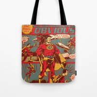 captain Tote Bags featuring Captain Obvious! by Joshua Kemble