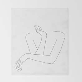 Minimal line drawing of woman's folded arms - Anna Throw Blanket
