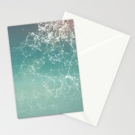 Fresh summer abstract background. Connecting dots, lens flare Stationery Cards