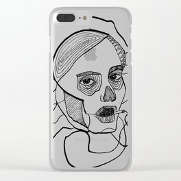Sketch woman's head art. Clear iPhone Case