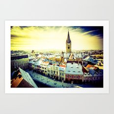 Cityscape of Sibiu, Romania Art Print