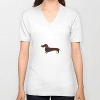 dachshund V-neck T-shirts featuring Dachshund by Cathy Brear
