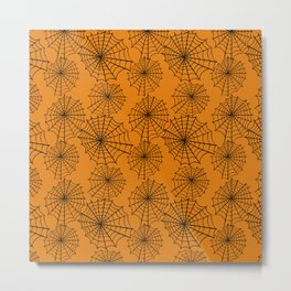 Black orange hand painted halloween spider web pattern Metal Print