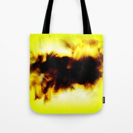 Hole In My Heart Black White Yellow Abstract Tote Bag