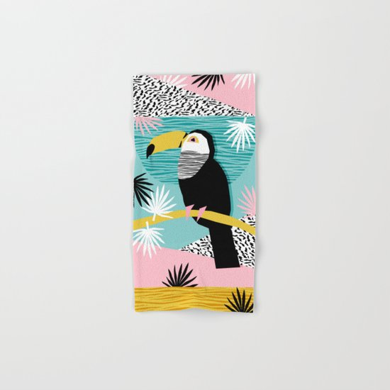 Loopy - wacka designs abstract bird toucan tropical memphis throwback retro neon 1980s style pop art Hand & Bath Towel