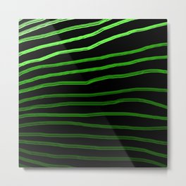 Shaded Green Hand-Drawn Lines Metal Print