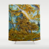 tie dye Shower Curtains featuring Tie Dye by Ian Bevington