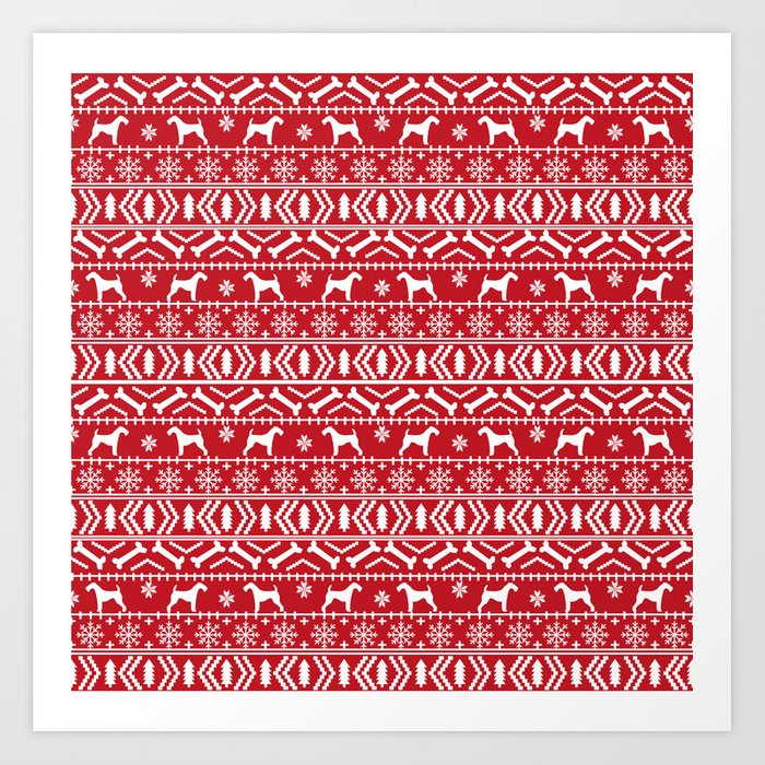 Airedale terrier fair isle silhouette christmas sweater red and ...