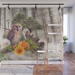 Floral Forest Owls Wall Mural