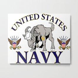 Navy Goat Metal Print
