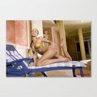 bikini Canvas Prints featuring Bikini by Retro Nude