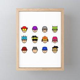 Teen Superhero Faces Framed Mini Art Print