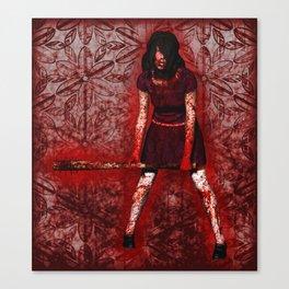 Linda - Blood-Soaked, Holding Bat Canvas Print