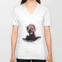 tokyo ghoul V-neck T-shirts featuring Kaneki - Tokyo Ghoul by Fisukenka