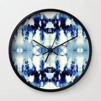 tie dye Wall Clocks featuring Tie Dye Blues by Nina May Designs