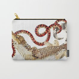 Spectacled Caiman and a False Coral Snake by Maria Sibylla Merian c.1705-10 // Wild Animals Decor Carry-All Pouch