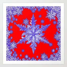 DECORATIVE PURPLE TINTED SNOWFLAKES ON RED Art Print