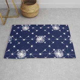 Shibori Stars Pattern | Indigo Blue Rug
