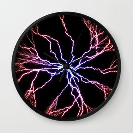Electrical Lightning Discharge Blue to Red Wall Clock