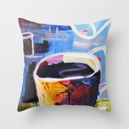 Coffee Geek Cup Blue Green White Yellow Contemporay Art Throw Pillow