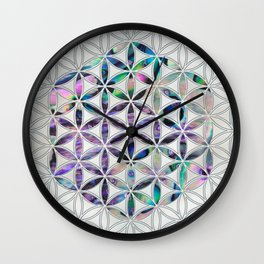Flower of life Abalone shell on pearl Wall Clock