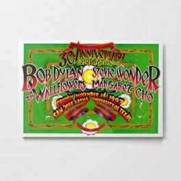 Rare 1997 30th Anniversary Bob Dylan San Jose, Texas Concert Poster Metal Print